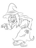 Halloween Witch Coloring Page Stock Photos