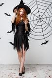 Halloween witch concept - Full-length Halloween Witch casting spells with serious expression over dark grey studio royalty free stock photos
