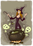 Halloween witch cooking Stock Photography