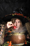 Halloween witch cooking in a copper cauldron. Scary halloween witch cooking in a copper cauldron Stock Images