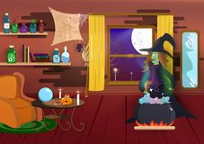 Halloween, Witch cooking magic, night party costume cartoon, spider, bat and spooky, home interior, miracle poster, happy holiday. Season abstract background stock illustration