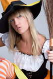 Halloween Witch Costume. Woman wearing halloween witch costume Royalty Free Stock Photo
