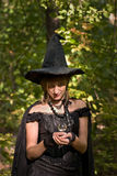 Halloween Witch with Crystal Ball in the Forest. (focus on hands and ball stock photo