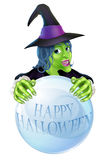 Halloween Witch and crystal ball Stock Photography