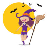 Halloween Witch. Cute Halloween Cartoon Character Witch and bats Royalty Free Stock Photos