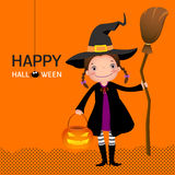 Halloween witch cute girl with broomstick and pumpkin Stock Photo