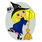 Halloween witch dancing with broom. black hat with Royalty Free Stock Photos