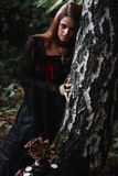 Halloween Witch in a dark forest. Beautiful young woman in witches costume . Halloween art design. Horror Background For Halloween Stock Photo