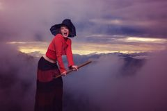 Halloween witch is flying on the broom Royalty Free Stock Images