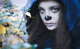 Halloween witch face. Close up photo, evil abstract royalty free stock photography