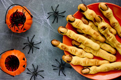Halloween witch finger cookies for kids, funny recipe for Hallow Royalty Free Stock Photography