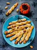 Halloween witch finger cookies for kids, funny recipe for Hallow Royalty Free Stock Photos