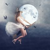 Halloween. Witch flying with bats. Collage Stock Image
