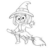 Halloween witch flying on broom. Black and white vector illustration for coloring book Stock Photo