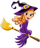 Halloween Witch Flying Broom Kid Royalty Free Stock Images