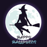 Halloween witch flying on broomstick and fool moon. Royalty Free Stock Photo