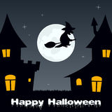 Halloween Witch flying and Haunted Houses Stock Image