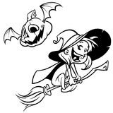 Halloween witch flying on her broom outlines. Black silhouette of cartoon witch. Coloring book. Royalty Free Stock Photo