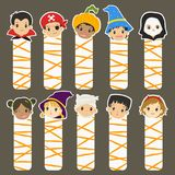 Halloween Bookmarks Vector Set. Halloween characters bookmarks set, cartoon vector collection Royalty Free Stock Photography