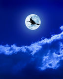 Halloween Witch Flying Moon Broomstick Stock Image