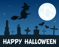 Halloween Witch Flying over Graveyard Royalty Free Stock Photography