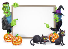 Halloween Witch and Frankenstein Banner Royalty Free Stock Images