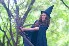 Halloween. The witch is funny royalty free stock photography