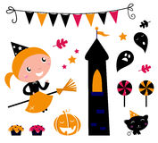 Halloween Witch Girl & items, icons. Cute little Halloween Witch, various items for celebration. Vector Stock Image