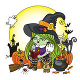 Halloween Witch girl reading book. Illstration Stock Photo
