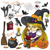 Halloween Witch girl reading,spooky elements set Royalty Free Stock Photo