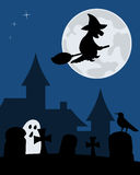 Halloween Witch and Graveyard. Halloween night scene with the moon and the silhouette of a witch flying over a spooky graveyard. Eps file available Stock Photos