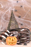 Halloween witch hands and hat close-up Royalty Free Stock Photos
