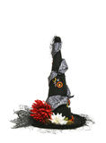 Halloween Witch Hat. Decorated halloween witch hat isolated over white stock photography