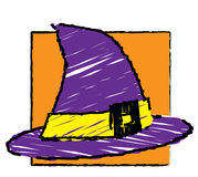 Halloween -  Witch hat. Illustration of a witch's hat as if drawn by a child Royalty Free Stock Photos