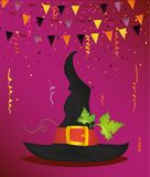 Halloween. Witch hat and garland of flags and confetti. Vector. Stock Image