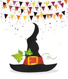 Halloween. Witch hat and garland of flags and confetti. Vector. Stock Photo