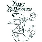 Halloween witch in hat holding a rat in her hand outlines. Vector illustration of witch silhouette. Coloring book. Stock Photography
