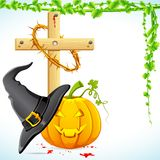 Halloween Witch Hat with Pumpkin Stock Image