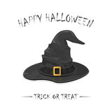 Halloween witch hat. Halloween theme, black witch hat with golden buckle isolated on white background, inscription Happy Halloween and trick or treat stock illustration