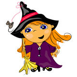 Halloween witch holding broom Stock Photo