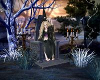Halloween witch holding a glass sphere sitting in a stone chair seat in a horror forest scenery stock image