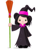 Halloween Witch. Holds a broom vector illustration