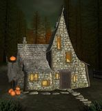 Halloween witch house in a dark forest stock illustration