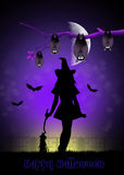 Halloween witch. Illustration of witch and bats at Halloween Stock Images