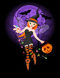 Halloween witch. Illustration of trick or treating witch on  the night background Royalty Free Stock Photos