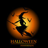 Halloween witch invitation card Royalty Free Stock Image