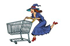 Free Halloween Witch. Isolate On White Background. Shopping Cart Trol Stock Photography - 126523662