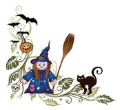 Halloween, witch, leaves Royalty Free Stock Images