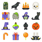 Halloween witch magic icons set  flat design line art vector illustration Royalty Free Stock Photography