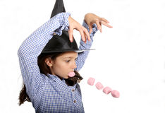 Halloween witch with marshmallows Royalty Free Stock Images